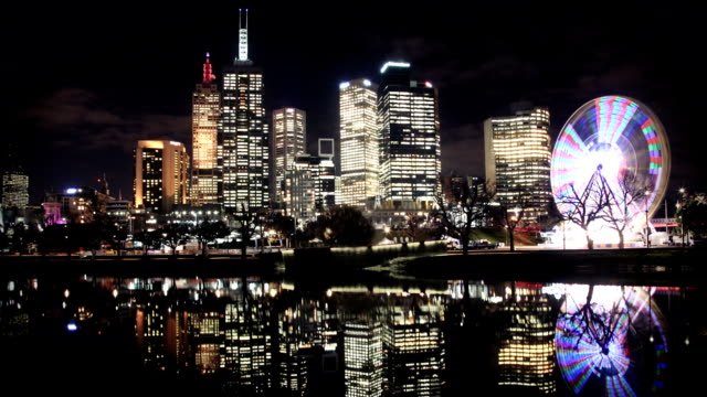 Melbourne Skyline River Reflection at Night video