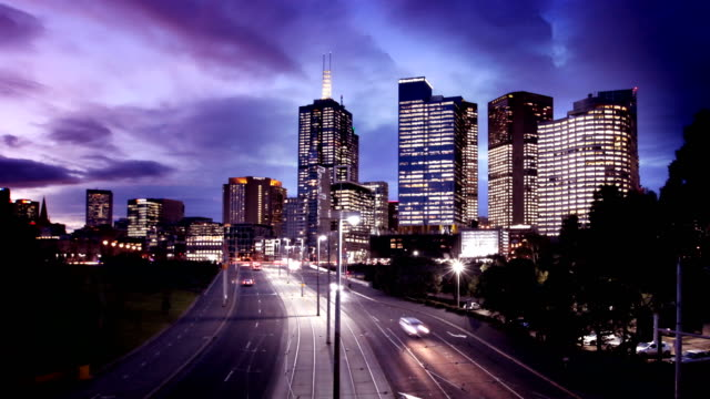 melbourne traffic and skyline day to night timelapse - melbourne stock videos & royalty-free footage