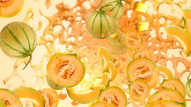 メロンオレンジイエローのフルーツジュースの新鮮なスプラッシュ」のリキッド背景 ビデオ