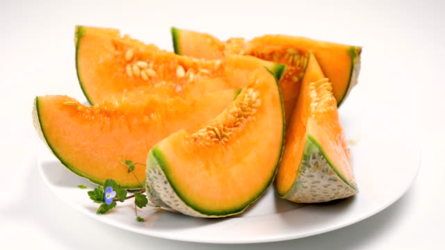melon slices on plate
