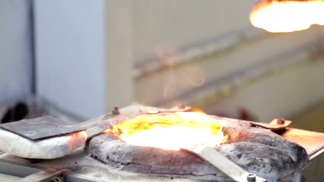 Melting alloy metal small high frequency induction furnace. video