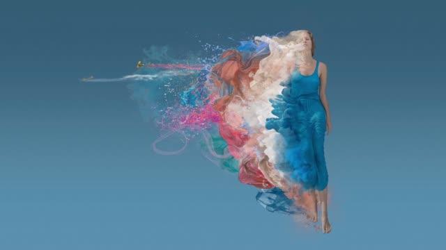 青色の背景の美しさを溶融 - 都会的ファッション点の映像素材/bロール