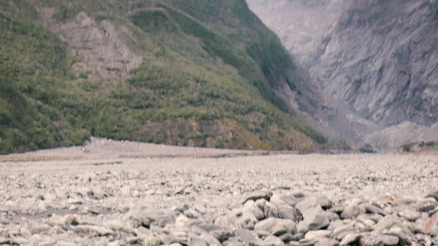 Melting Franz Josef glacier on New Zealand's south island. Pan down.