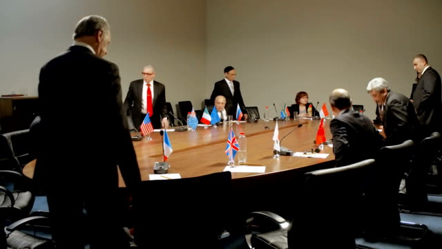 Members of the international conference round table discussion. Political debate video
