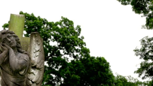 Memorial churchyard angel statue. video