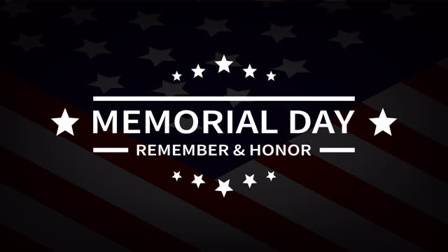 сша день памяти. баннер с американским флагом в темных тонах со звездами и текстом. помните и честь анимированные в 4k - memorial day стоковые видео и кадры b-roll