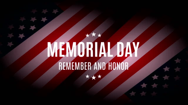 memorial day with usa flag. remember and honor. 4k animation - memorial day стоковые видео и кадры b-roll