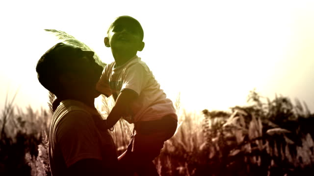 Men And Child  Playing Silhouette video
