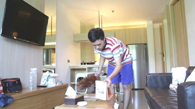 HD: Mann Reinigung Home Interior – Video
