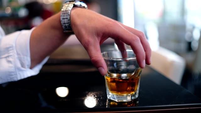 men holding glass of whiskey - whisky video stock e b–roll
