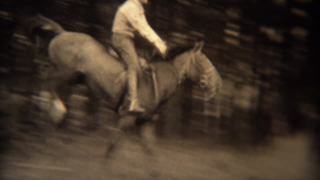 1937: Men jumping horses over fence loses hat in wooded rural area.