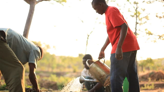 Men on rural African farm working video