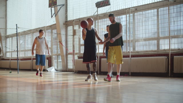 Men Playing Basketball Indoor 2 on 2