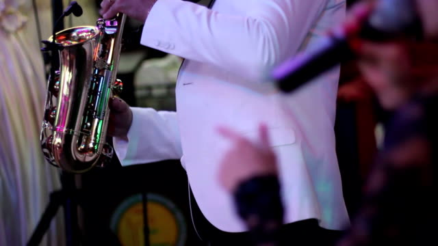 men  playing the saxophone near songstress video