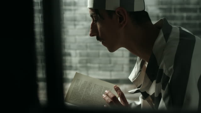 Men reading book at prison cell video