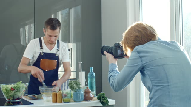 Men Recording Video for Cooking Channel video