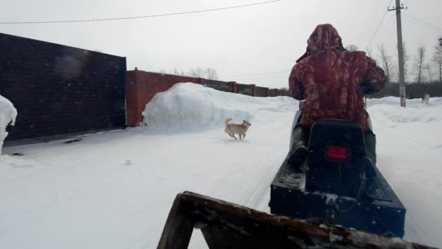 Men ride on a snowmobile with dog in snowy village
