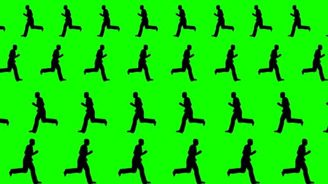 男性には、さまざまな方向に走る緑色の画面背景 - スパイ点の映像素材/bロール