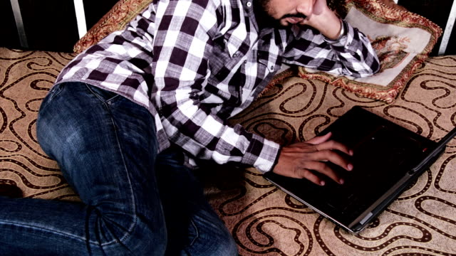 Men Working at Home using Laptop video