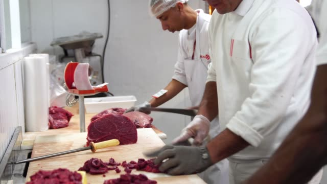 Men working at the butchery video