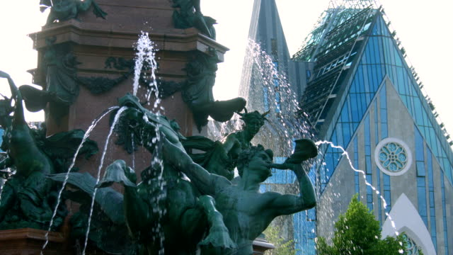 Mendebrunnen. Fountain in Leipzig,Germany video