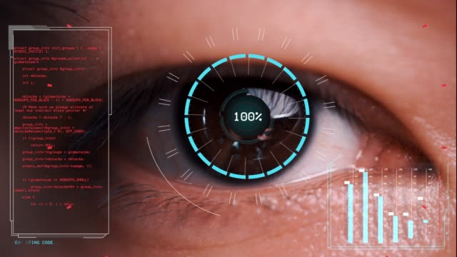 Men's eyes are being scanned, computer graphic motion effect Men's eyes are being scanned with intelligent eye scanners. eyesight stock videos & royalty-free footage