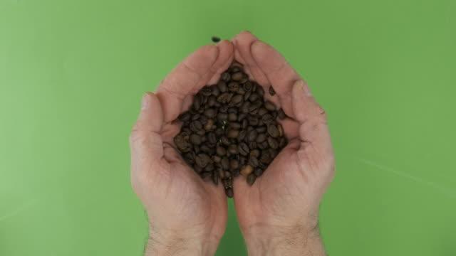 herrenhände halten einen haufen kaffeebohnen auf einem grünen hintergrund. ansicht von oben. - handvoll stock-videos und b-roll-filmmaterial