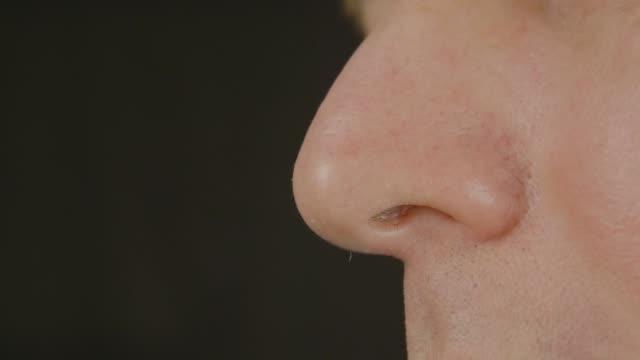 erkek burun, yakın çekim - kokulu stok videoları ve detay görüntü çekimi
