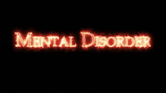 Mental Disorder written with fire. Loop