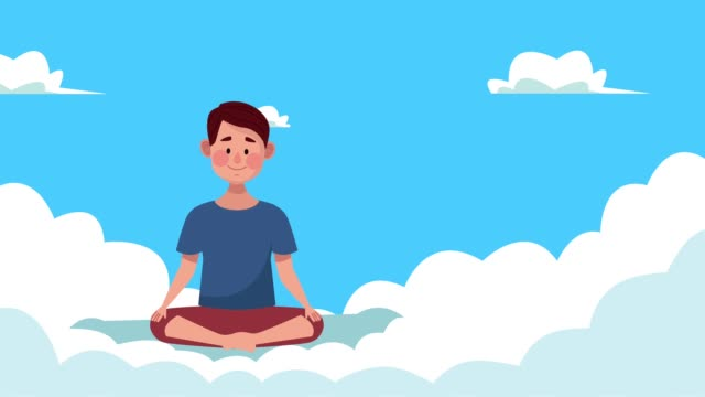 mental health animation with man in lotus position in clouds mental health animation with man in lotus position in clouds ,FullHD video animated cross legged stock videos & royalty-free footage