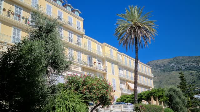 Menton Luxury Real Estate Luxury Real Estate On The French Riviera, Beautiful Apartments With Sea View Balcony, Old Palace In Menton, France, Europe french architecture stock videos & royalty-free footage