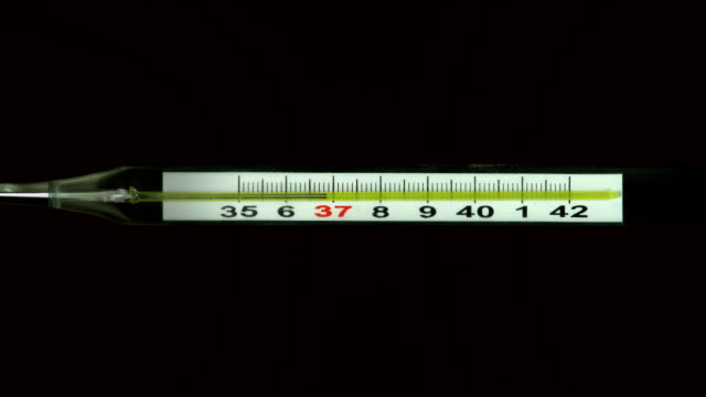 Mercury glass thermometer measuring fever temperature video