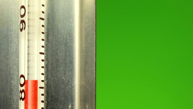 stockvideo's en b-roll-footage met mercury rising green screen - thermometer