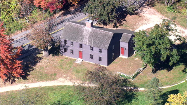 Meriam's Corner Farmhouse  - Aerial View - Massachusetts,  Middlesex County,  United States video