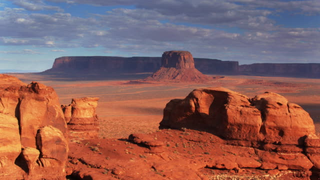 merrick butte, monument valley - drone shot - rock formations stock videos & royalty-free footage