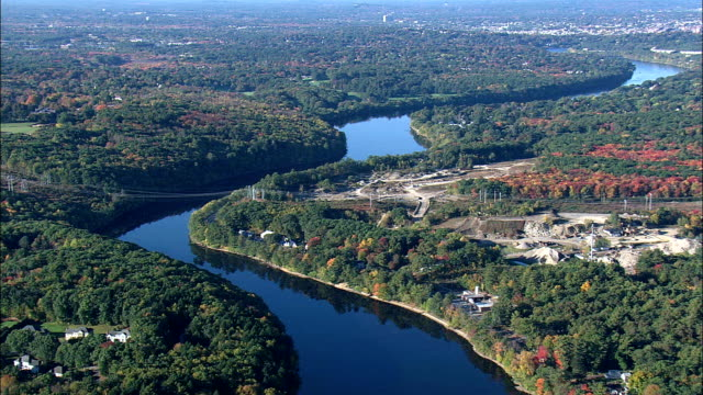 Merrimack River Near Lawrence  - Aerial View - Massachusetts,  Essex County,  United States video