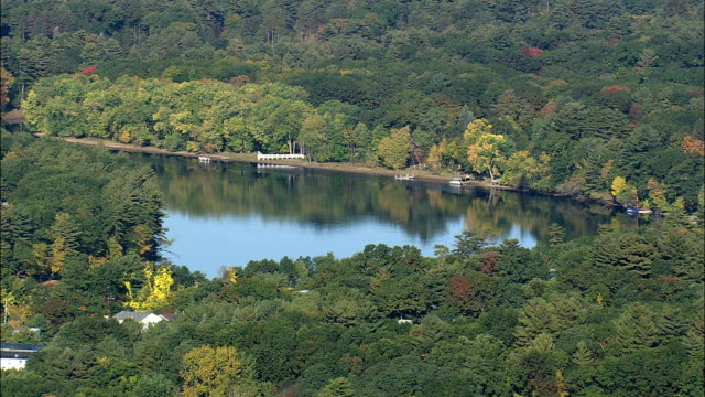 Merrimack River Near Lowell  - Aerial View - Massachusetts,  Middlesex County,  United States video