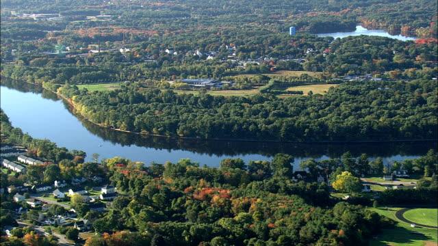 Merrimack River Near Tyngsboro  - Aerial View - Massachusetts,  Middlesex County,  United States video