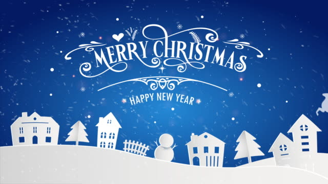 vídeos de stock e filmes b-roll de merry christmas and happy new year of snowy home town with typography font message. blue paper art and digital craft illustration celebrate invitation wallpaper card. holiday winter. 4k footage video - new year