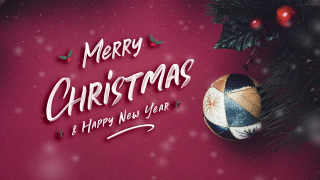 Merry Christmas and happy new year with ball and fir branches for wreath with cherry and pine cone on dark red background. greeting card for winter holiday festive celebration concept