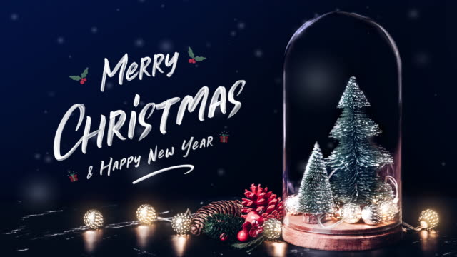 merry christmas and happy new year with mistletoe and gift box icon with xmas tree and glowing light string and pine cone decoration on marble table and blue background.winter holiday greeting card - natale concept video stock e b–roll