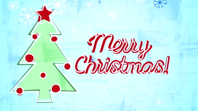 merry christmas card child's drawing style animation video