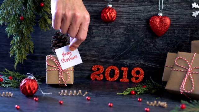 4 k のメリー クリスマスの概念。 - 十二月点の映像素材/bロール