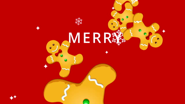 Merry Christmas Gingerbread Man Animation Christmas animation of Gingerbread Man cookies and snowflakes on red background. Festive greeting Merry Christmas text appears during the footage. HD video. gingerbread man stock videos & royalty-free footage
