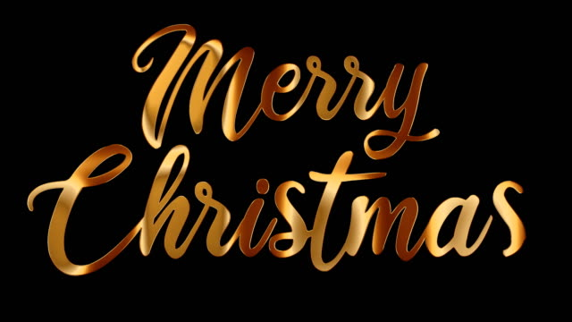 Merry Christmas gold text. Hand lettering calligraphy with alpha channel.