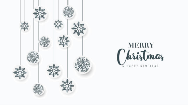 Video Merry Christmas greeting video card. Christmas tree with shining light, falling snowflakes and stars