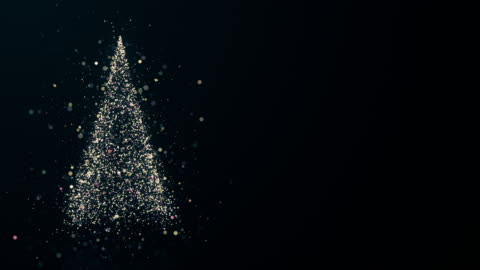 Merry Christmas greeting video card Merry Christmas greeting video card. Christmas tree with shining light, falling snowflakes and stars, 4K video background christmas tree stock videos & royalty-free footage