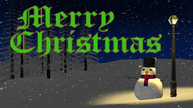 Merry Christmas greeting with snowman and old gas lamp video