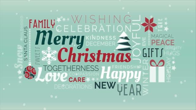 merry christmas tag cloud - pojedyncze słowo filmów i materiałów b-roll