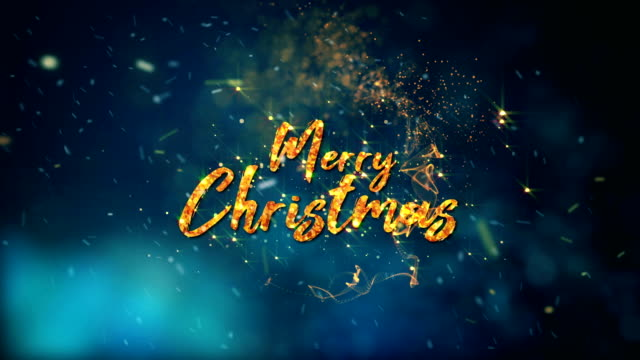 merry christmas text revealed by magic particles motion graphics 4k - christmas background стоковые видео и кадры b-roll
